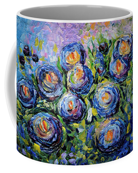 Blue Roses Coffee Mug featuring the painting Roses Are Blue by OLena Art Lena Owens
