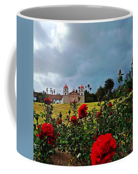Santa Barbara Mission Coffee Mug featuring the photograph Roses Are Red by JoJo Brown