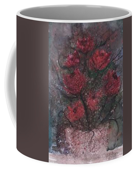 Watercolor Coffee Mug featuring the painting ROSES AT NIGHT gothic surreal modern painting poster print by Derek Mccrea