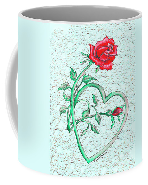 Rose Art Coffee Mug featuring the painting Roses Hearts And Lace Flowers Design by Dale E Jackson