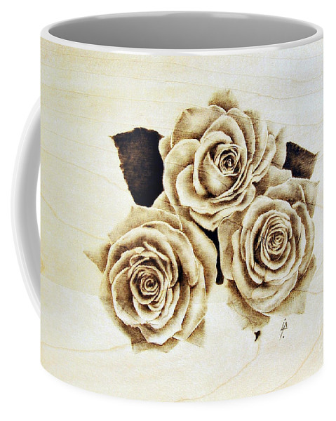 Pyrography Coffee Mug featuring the pyrography Roses by Ilaria Andreucci