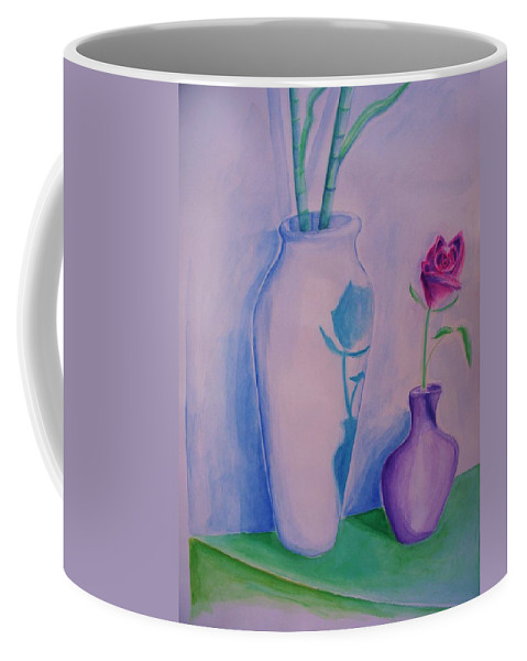 Red Rose Coffee Mug featuring the painting Roses In Vase by Eric Schiabor