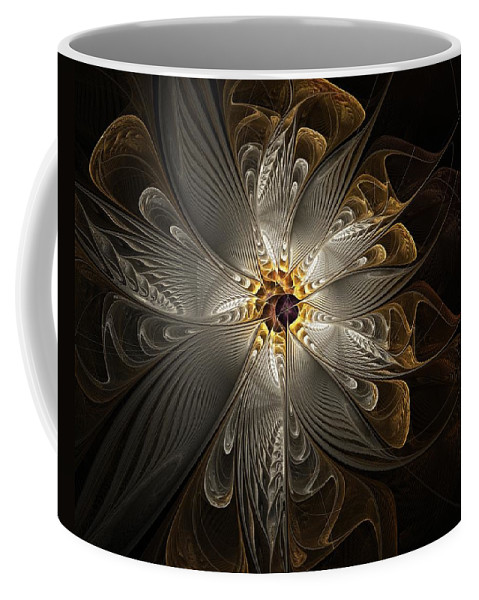 Digital Art Coffee Mug featuring the digital art Rosette in Gold and Silver by Amanda Moore