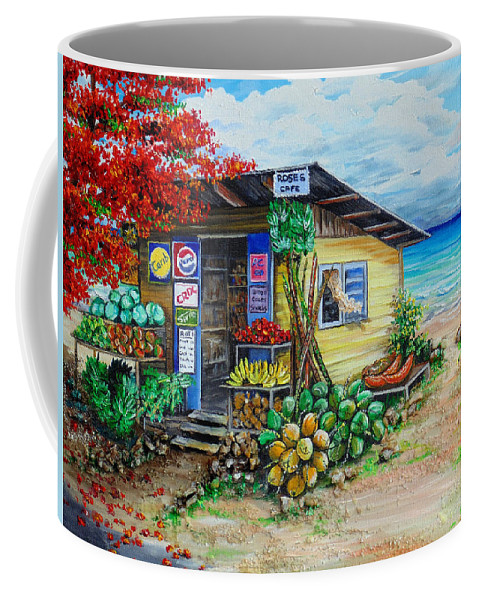 Beach Cafe Coffee Mug featuring the painting Rosies Beach Cafe by Karin Dawn Kelshall- Best