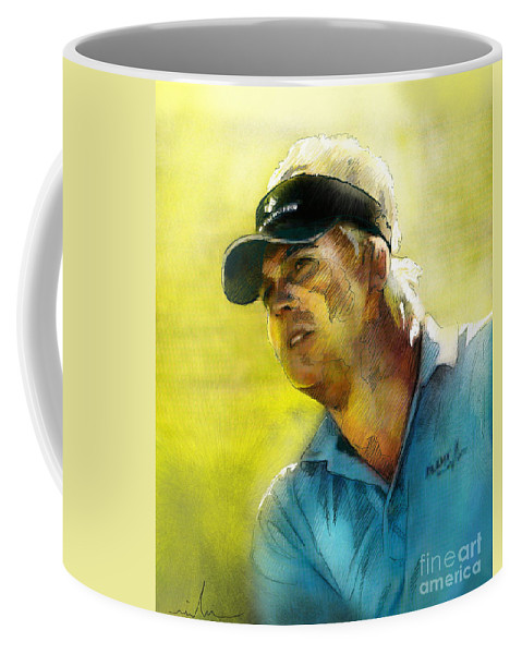 Golf Painting Portrait Ross Mcgowan Coffee Mug featuring the painting Ross Mcgowan In The Madrid Masters by Miki De Goodaboom