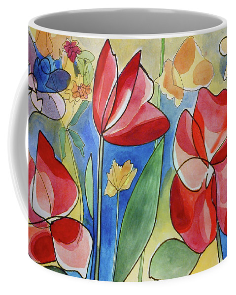Fiori Coffee Mug featuring the painting Rosso Fiori by Alessandra Bisi
