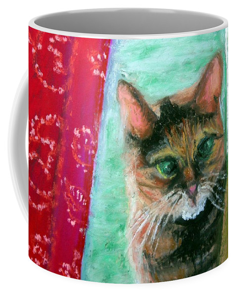 Cat Coffee Mug featuring the painting Rosy in Color by Minaz Jantz