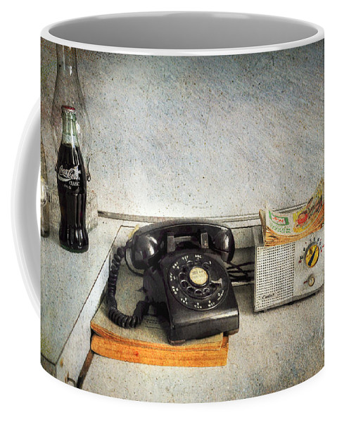Telephone Coffee Mug featuring the photograph Rotary Dial Phone In Black S And H Stamps by Paul Ward