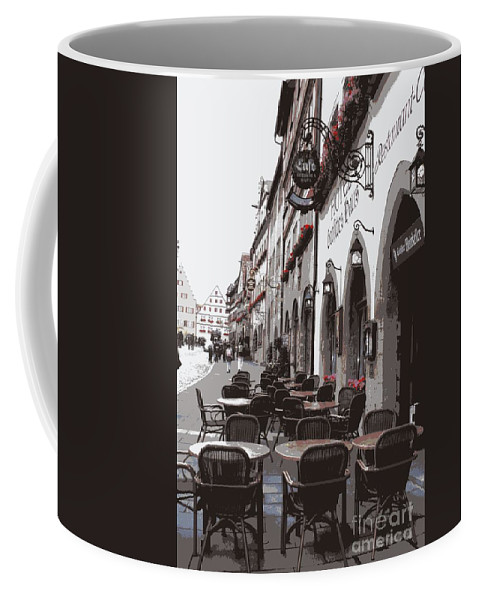 Rothenburg Coffee Mug featuring the photograph Rothenburg Cafe - Digital by Carol Groenen