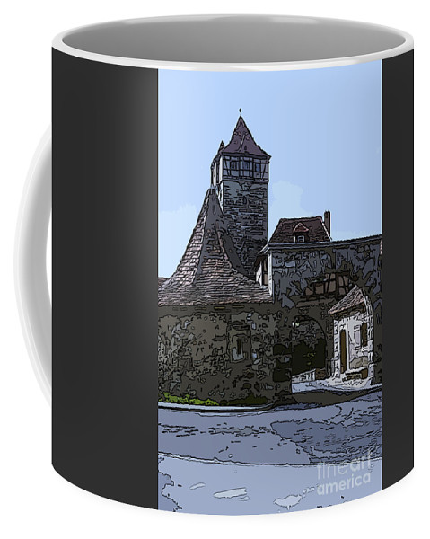 Rothenburg Germany Cobblestone Lane Lanes Cobblestones Street Streets Stone Stones City Gate Gates Cities Cityscape Cityscapes Digital Art Structure Structures Building Buildings Architecture Coffee Mug featuring the photograph Rothenburg City Gate 4 by Bob Phillips