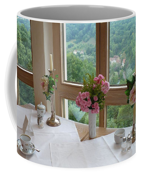Rothenburg Coffee Mug featuring the photograph Rothenburg Dining With A View by Carol Groenen