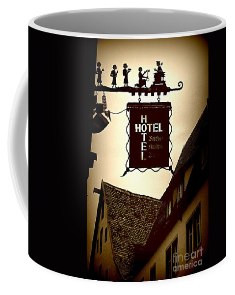 Hotel Sign Coffee Mug featuring the photograph Rothenburg Hotel Sign - Digital by Carol Groenen