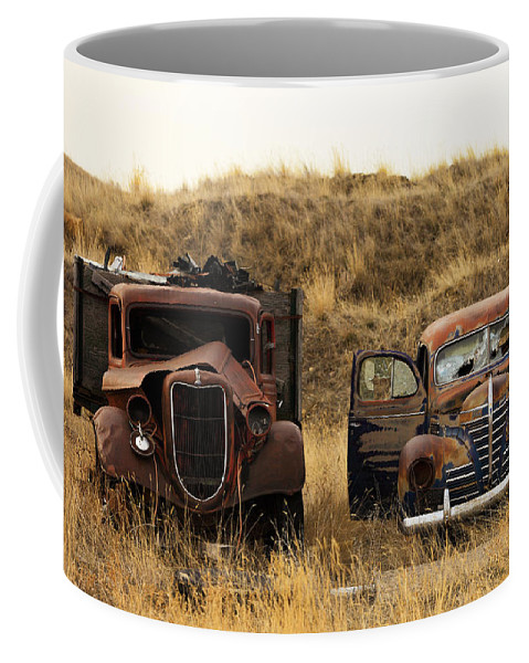 Car Coffee Mug featuring the photograph Rotting Jalopies by Todd Klassy
