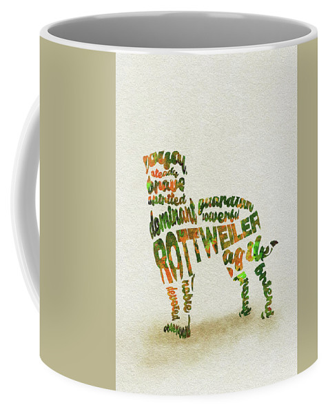 Rottweiler Coffee Mug featuring the painting Rottweiler Dog Watercolor Painting / Typographic Art by Inspirowl Design