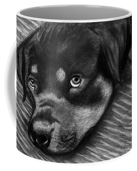 Rot Wilier Coffee Mug featuring the drawing Rotty by Peter Piatt