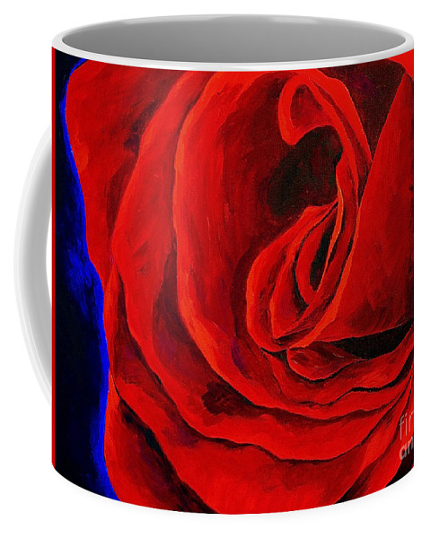 Rose Red Rose Deep Red Rose Coffee Mug featuring the painting Rouge by Herschel Fall