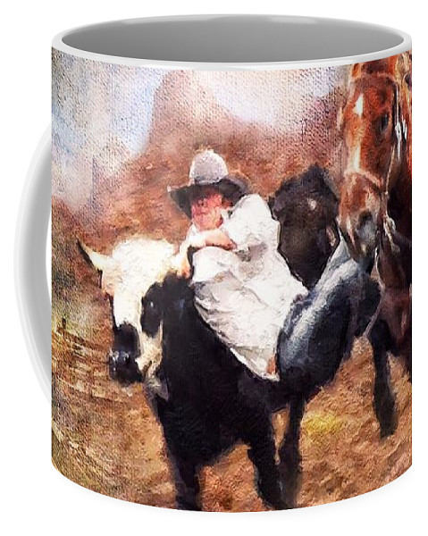 American West Coffee Mug featuring the digital art Roundup by Looking Glass Images