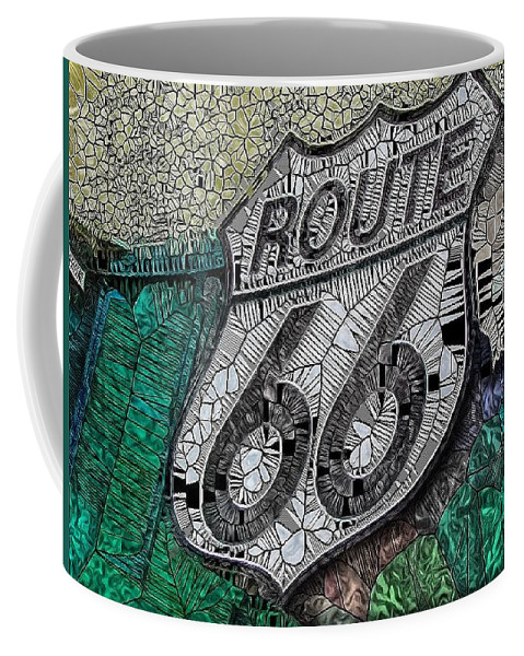 Route 66 Coffee Mug featuring the digital art Route 66 Digital Stained Glass by Mo Barton