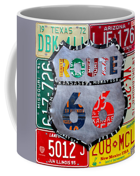 Route 66 Highway Road Sign License Plate Art Travel License Plate Map Coffee Mug featuring the mixed media Route 66 Highway Road Sign License Plate Art by Design Turnpike
