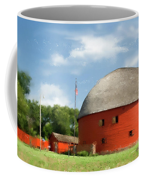 Barn Coffee Mug featuring the photograph Route 66 Round Barn by Betty LaRue