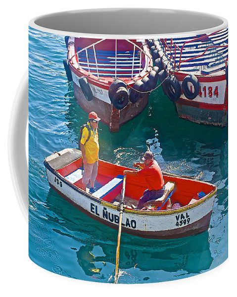 Rowboat In The Harbor At Port Of Valparaiso Coffee Mug featuring the photograph Rowboat In The Harbor At Port Of Valpaparaiso-chile by Ruth Hager