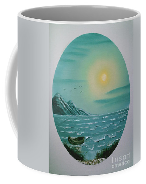 Seascape Coffee Mug featuring the painting Rowboat by Jim Saltis