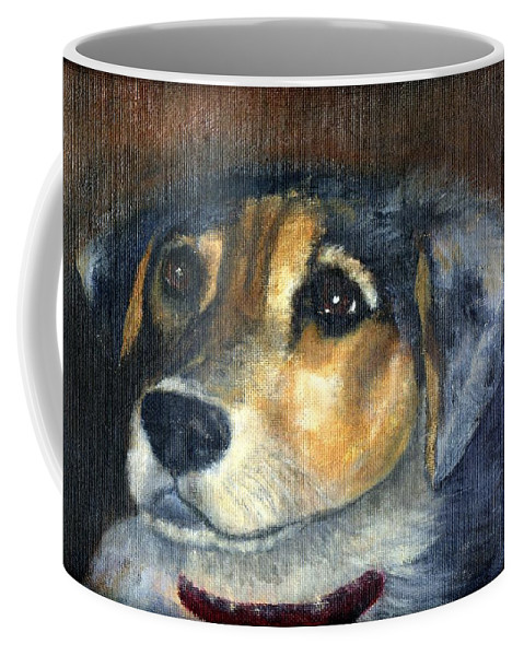 Dog Coffee Mug featuring the painting Roxie by Gail Kirtz
