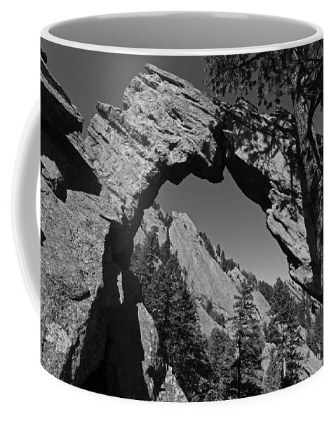 Boulder Coffee Mug featuring the photograph Royal Arch Trail Arch Boulder Colorado Black And White by Toby McGuire