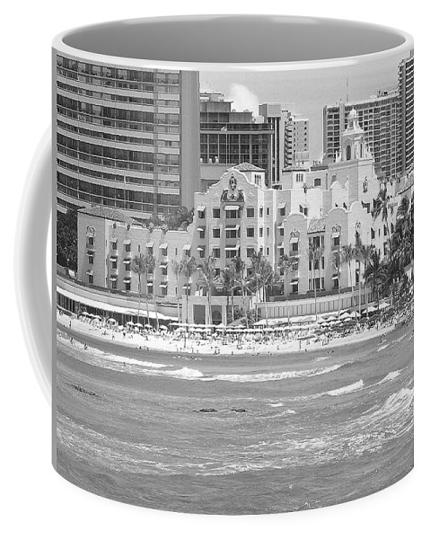Black And White Coffee Mug featuring the photograph Royal Hawaiian Hotel - Waikiki by Mary Deal