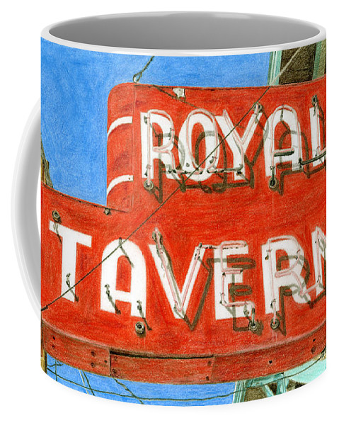 Neon Sign Coffee Mug featuring the drawing Royal Tavern by Rob De Vries