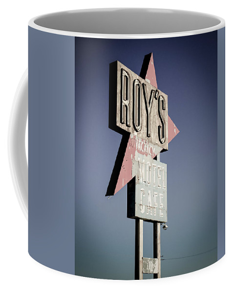 Roy's Motel And Cafe Coffee Mug featuring the photograph Roys Motel And Cafe by Alex Snay