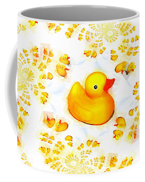 Rubber Duck Coffee Mug featuring the mixed media Rubber Ducks by P Donovan