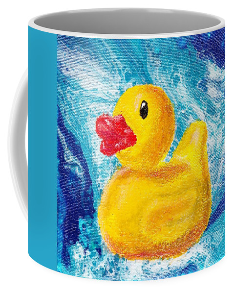 Rubber Duck Coffee Mug featuring the painting Rubber Ducky by Stormy Miller
