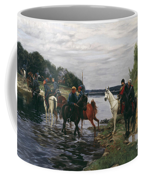 Horses Coffee Mug featuring the painting Rubicon. Crossing The River By Denis Davydov Squadron. 1812. by Simon Kozhin