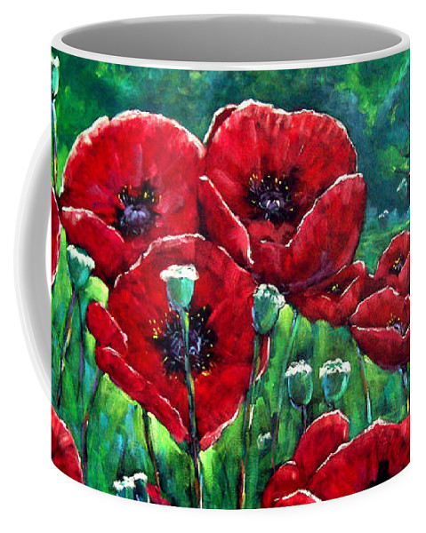 Forest Coffee Mug featuring the painting Rubies In The Emerald Forest by Richard T Pranke