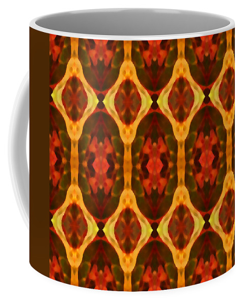 Abstract Coffee Mug featuring the painting Ruby Glow Pattern by Amy Vangsgard