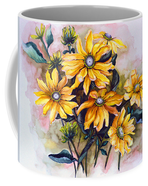 Flower Painting Sun Flower Painting Flower Botanical Painting  Original Watercolor Painting Rudebeckia Painting Floral Painting Yellow Painting Greeting Card Painting Coffee Mug featuring the painting Rudbeckia Prairie Sun by Karin Dawn Kelshall- Best