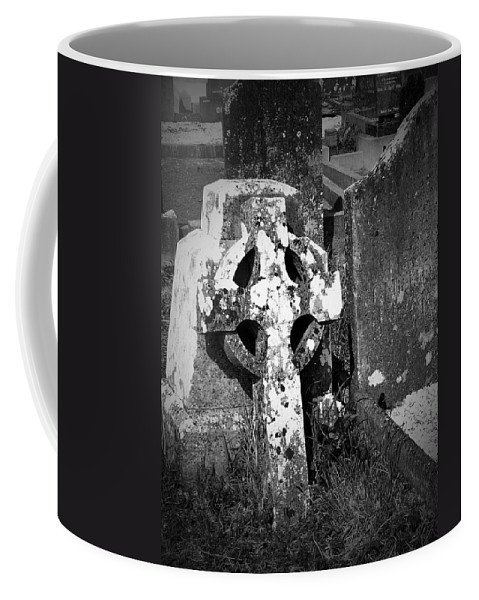 Celtic Coffee Mug featuring the photograph Rugged Cross At Fuerty Cemetery Roscommon Ireland by Teresa Mucha