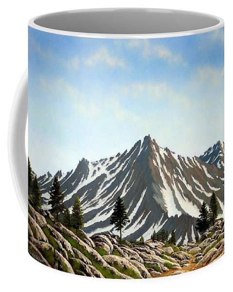 Mountians Coffee Mug featuring the painting Rugged Peaks by Frank Wilson