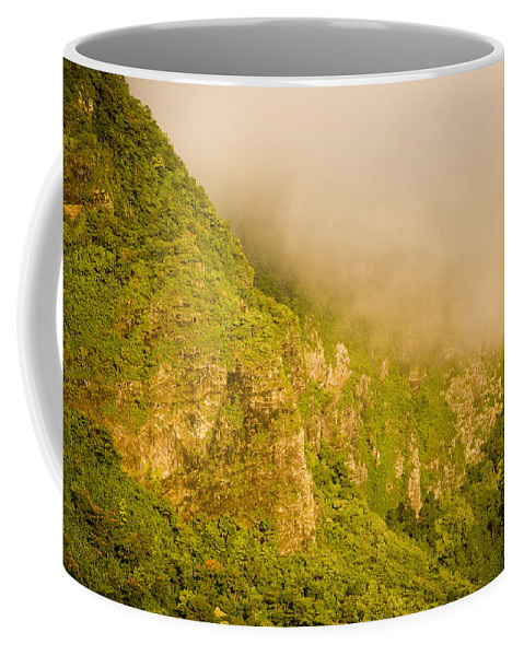 Clouds Coffee Mug featuring the photograph Rugged Volcanic Peaks Of Moorea by Tim Laman