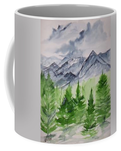 Plein Air Coffee Mug featuring the painting Ruidoso Nm Southwestern Mountain Landscape Watercolor Painting Poster Print by Derek Mccrea