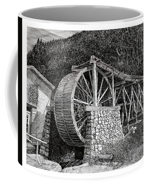 Images Of Ruidoso Waterwheel Scenic Structures Coffee Mug featuring the drawing Ruidoso Waterwheel by Jack Pumphrey