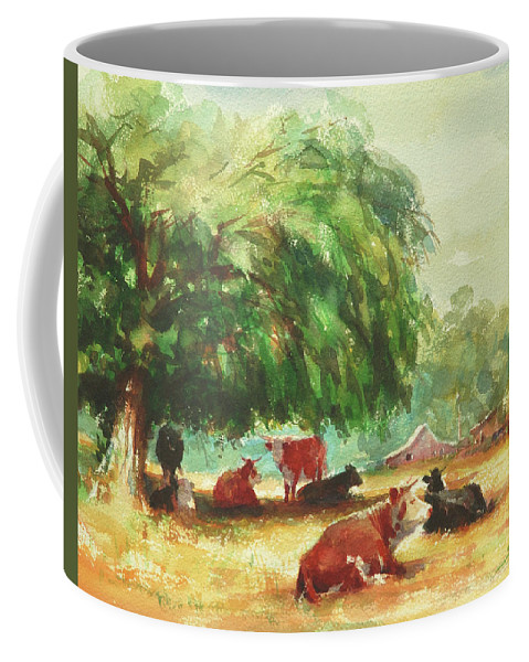 Cows Coffee Mug featuring the painting Rumination by Steve Henderson