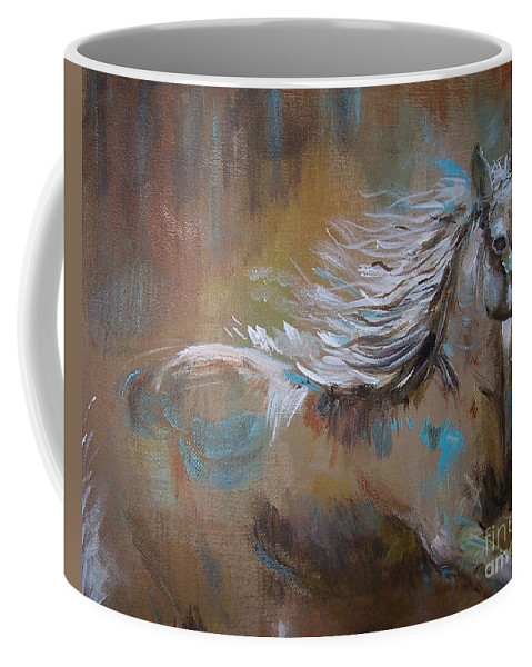 Horse Coffee Mug featuring the painting Run Away by Leslie Allen