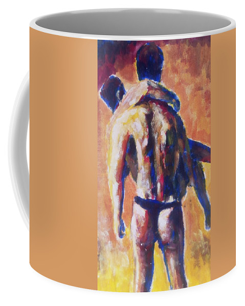 Portrait Coffee Mug featuring the painting Run For Life by Frank YS YU