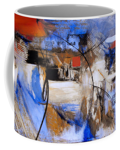 Abstract Coffee Mug featuring the painting Run The Race by Ruth Palmer