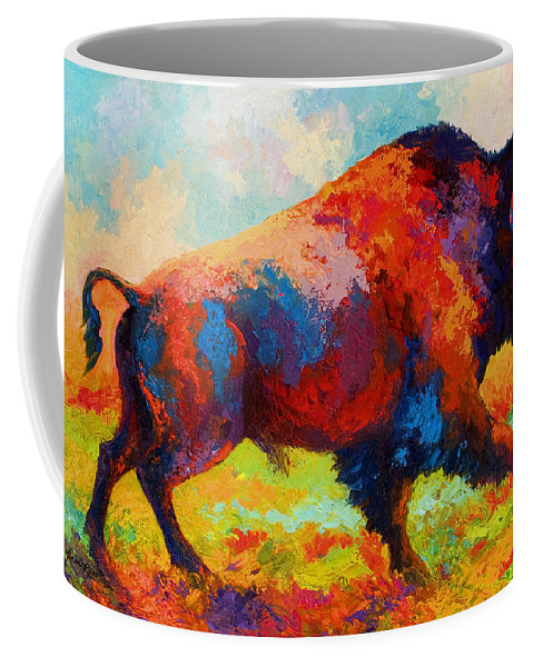 Bison Coffee Mug featuring the painting Running Free by Marion Rose