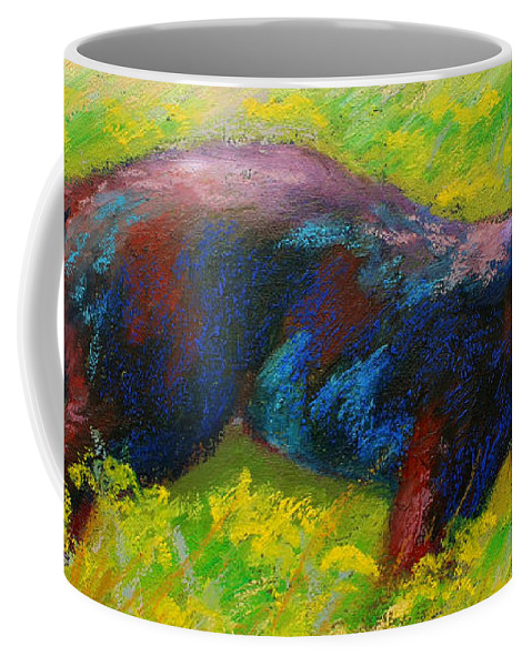 Western Coffee Mug featuring the painting Running Free - Black Bear Cub by Marion Rose