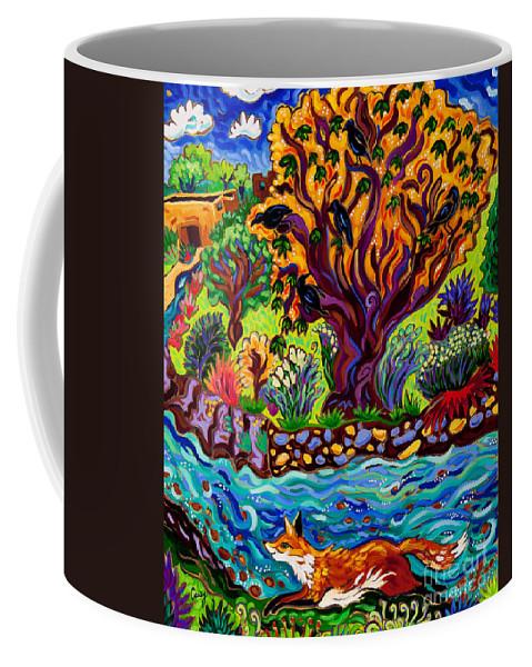 Running Fox Coffee Mug featuring the painting Running River, Running Fox by Cathy Carey