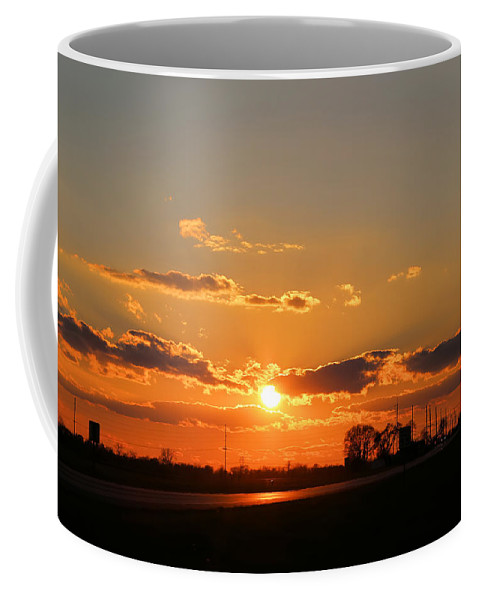 Illinois Coffee Mug featuring the photograph Rural Il Sunset Reflections by Theresa Campbell
